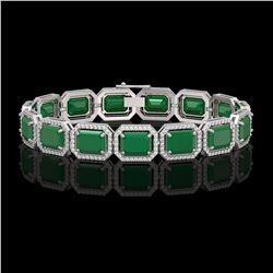 38.61 CTW Emerald & Diamond Halo Bracelet 10K White Gold - REF-456T5M - 41522