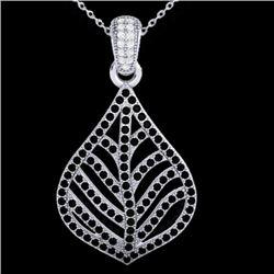 1.25 CTW Micro Pave Black & VS/SI Diamond Necklace Designer 18K White Gold - REF-136Y4K - 21283