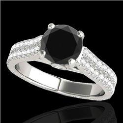 2.11 CTW Certified VS Black Diamond Pave Ring 10K White Gold - REF-88M9H - 35467