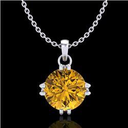 1 CTW Intense Fancy Yellow Diamond Solitaire Art Deco Necklace 18K White Gold - REF-218F2N - 37546