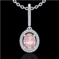 1.60 CTW Morganite & Micro VS/SI Diamond Necklace Solitaire Halo 18K White Gold - REF-73W3F - 20664