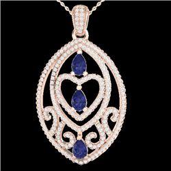 3.50 CTW Tanzanite & Micro VS/SI Diamond Heart Necklace 18 14K Rose Gold - REF-218Y2K - 21296