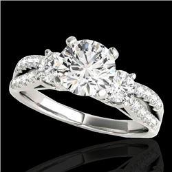 1.5 CTW H-SI/I Certified Diamond 3 Stone Ring 10K White Gold - REF-172W8F - 35403