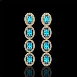 6.28 CTW Swiss Topaz & Diamond Halo Earrings 10K Yellow Gold - REF-103X6T - 40537