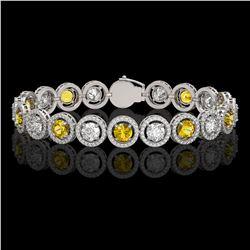 13.76 CTW Canary Yellow & White Diamond Designer Bracelet 18K White Gold - REF-1948N4Y - 42599