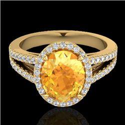 3 CTW Citrine & Micro VS/SI Diamond Halo Solitaire Ring 18K Yellow Gold - REF-70W9F - 20937