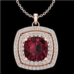 2.27 CTW Garnet & Micro Pave VS/SI Diamond Halo Necklace 14K Rose Gold - REF-53X8T - 20456