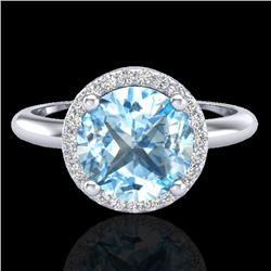 2.70 CTW Sky Blue Topaz & Micro VS/SI Diamond Ring Designer Halo 18K White Gold - REF-58H9A - 23214