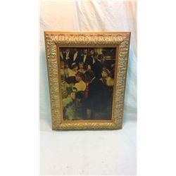 Antiqued Oil On Board In Gold Leaf Frame