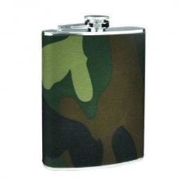 Silver Flask  With Camouflage Wrap For Hunters...Free Shipping