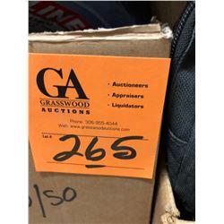 Box w/safety vests, Raychem Low Profile Splice Kit, Wilson Secure Box, Uline H-543BLU Blue Plastic T