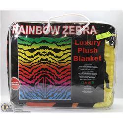 LUXURY PLUSH BLANKET -RAINBOW ZEBRA