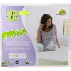 SPA SENSATIONS PURE BIOFOAM MEMORY FOAM TOPPER