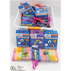 PLASTIC BASKET FULL OF COLOR 'N' GO CRAYON AND