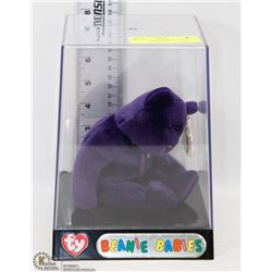 PURPLE COLLECTOR TY BEANIE BABY IN SHOWCASE
