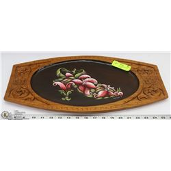 ARTISAN HAND PAINTED, HAND CARVED WOOD TRAY