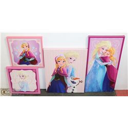 LOT OF 4 DISNEY FROZEN CANVAS WALL HANGINGS