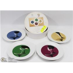 "SET OF FOUR 8"" RETRO COCKTAIL APPETIZER PLATES"