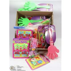 LARGE FLAT OF PARTY FAVOURS INCL . CLAPPERS,