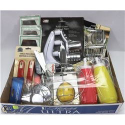 FLAT OF ASSORTED KITCHEN ITEMS INCLUDING, ROTARY