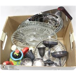 ESTATE BOX OF SERVING WARE SILVER PLATED