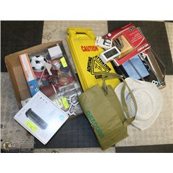 LARGE ASSORTMENT OF ITEMS INCLUDING, CAUTION