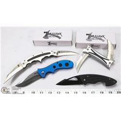 4 NEW IN BOX POCKET KNIVES INCL TOMAHAWK, MAXXAM