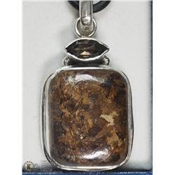 STERLING SILVER SMOKY QUARTZ AND AGATE NECKLACE