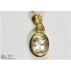 GOLD PLATED STERLING SILVER QUARTZ NECKLACE