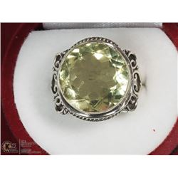 STERLING SILVER GREEN AMETHYST RING SIZE 7