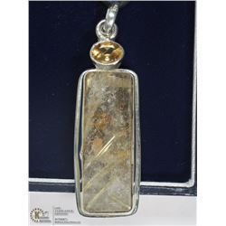 sTERLING SILVER CITRINE AND RUTILATED QUARTZ