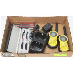 BOX W/3 NEW PEN SETS & USED WALKIE