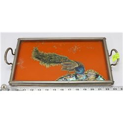 VINTAGE PEACOCK REVERSE PAINTED SERVING TRAY