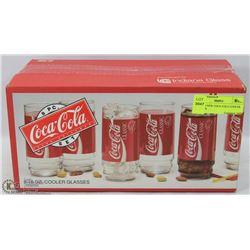 SET OF 8 NEW COCA COLA COOLER GLASSES.