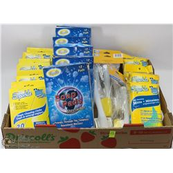 FLAT OF CLEANING SUPPLIES INCLUDING STEEL WOOL,