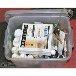 BOX OF ASSORTED CRAFT PAINT, CANVAS, BRUSHES.