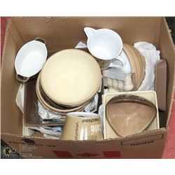 BOX OF ASSORTED CROCKERY BOWLS, CUPS.