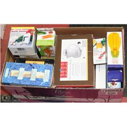 BOX OF ASSORTED KITCHEN ACCESSORIES, COFFEE