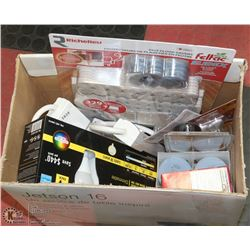 BOX OF ASSORTED LIGHT BULBS, EXTENSION CORDS