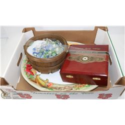 ART BASKET WITH PLATTERS & CIGAR BOX