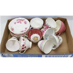 ESTATE LOT OF TEA CUPS +SAUCERS