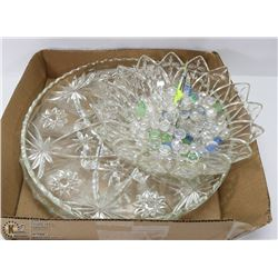 CRYSTAL SERVING SET, TWO PLATTERS