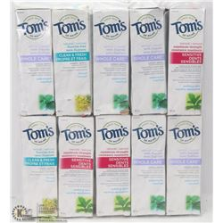 BAG OF ASSORTED TOMS OF MAINE TOOTHPASTE