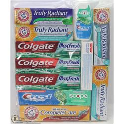 BAG OF ASSORTED TOOTHPASTE
