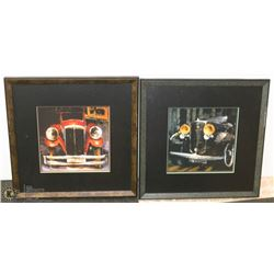 TWO FRAMED PICTURES OF CARS