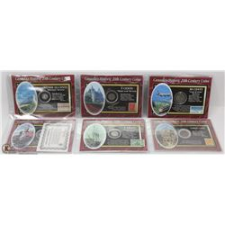 GROUP OF 6 CANADA HISTORIC COIN & STAMPS SETS