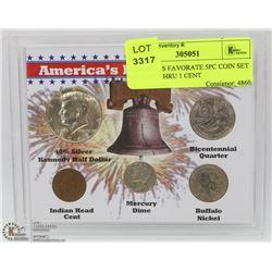 AMERICAS FAVORITE 5PC COIN SET 50 CENT THRU 1 CENT