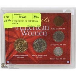 5PC SET PORTRAITS OF AMERICAN WOMEN USA