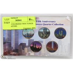 SET OF 5 COLORIZED TWIN TOWER USA QUARTERS