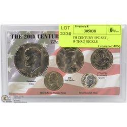 USA 20TH CENTURY 5PC SET , DOLLAR THRU NICKLE